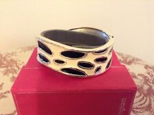 "DEBENHAMS ""BUCKINGHAM"" CREAM & BLACK HINGED  BRACELET - BOXED"