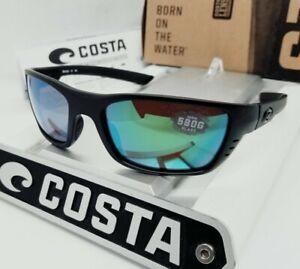 "580G - COSTA DEL MAR blackout/green mirror ""WHITETIP"" POLARIZED sunglasses NEW!"