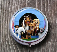 DOG FULL HOUSE PILL BOX ROUND METAL -dsj7Z