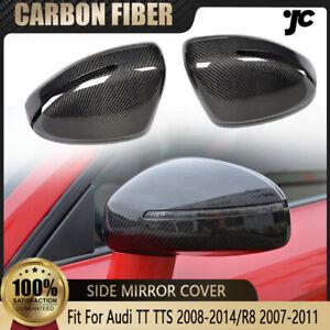 For Audi TT TTS 08-14/R8 07-11 Carbon Fiber Replacement Side Mirror Covers Caps