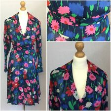 Authentic 1970s Vintage Ladies Blue Floral Silk Fit Flare Shirt Dress UK 14/16