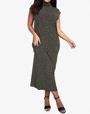Roaman's Plus Size Leaf Green Print Slouchy Turtleneck Dress Size 3X(30/32)
