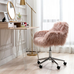 Faux Fur Swivel Home Office Desk Chair Adjustable Makeup Vanity Chair Pink Chair