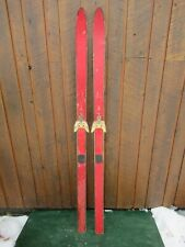 """New listing Vintage Wooden 64"""" Skis Old Red Finish with Metal Bindings"""