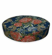We504r Blue Damask Rose Chenille 3D Round Box Shape Sofa Seat Cushion Cover Case