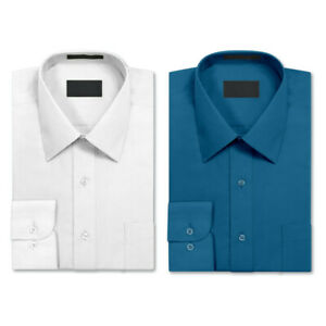 2 Pack Men's Berlioni Long Sleeve Button Regular Dress Shirt Turquoise - White