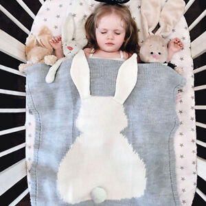 Rabbit Cotton Crochet Knit Newborn Blanket Nursery Bedding Baby Crib Swaddle