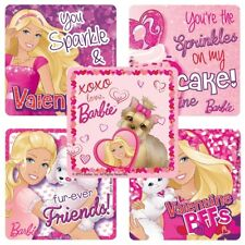 """25 Barbie Valentine's Day Stickers, 2.5"""" x 2.5"""" each, Party Favors"""