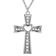 925 SILBER Anhänger Kristall Kreuz Herz Silberkette Anhänger mit  AAA Zirkonia