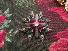 WEISS VINTAGE green, red CABOCHONS clear RHINESTONE MALTESE CROSS pendant  PIN