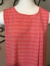 Liz Claiborne - Womens Coral White Geometric Sleeveless Shirt - Size Medium *D