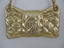 PEPE JEANS GOLD  LEATHER EVENING BAG W/ GOLD TONE  STRAP AND DIAMOND CRYSTALS