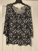 Talbots Women's Plus size 2x Blouse Top Floral 3/4 Sleeves