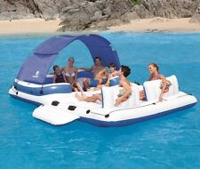 NEW Party Island Inflatable Multi Person Raft Springs Pool Float Cooler Canopy