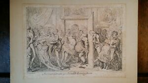 1835 SATIRICAL PRINT  GEORGE CRUIKSHANK INCONVENIENCES OF A CROWDED DRAWING ROOM
