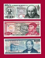 Mexico UNC Notes: 10 Pesos '72-77 (P63), 20 Pesos '77 (P64), 50 Pesos 1981 (P73)