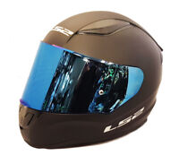 LS2 FF353 RAPID FULL FACE MOTORCYCLE HELMET MATT BLACK WITH BLUE IRIDIUM VISOR