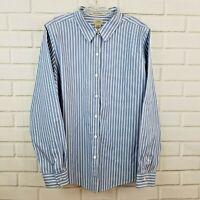 L.L. Bean XL Women's Striped Blue White Wrinkle Resistant Button Down Shirt