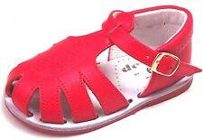 DE OSU - Baby Boys Girls Red Leather Fisherman Sandals - European Size 2.5-4