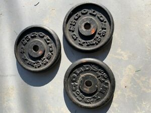 Golds Gym set of 3 10 pound Barbell weight plates 30 pounds total