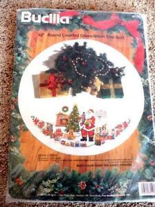 Bucilla Santa Classic Christmas Tree Skirt Cross Stitch Kit