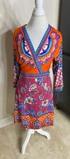NWT Hale Bob Wrap Dress Bright Retro Orange Pink Geometric Size Small S $198