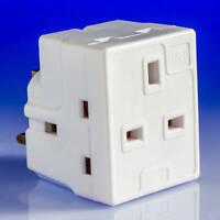 Nouveau 3 Way adaptateur 3 Gang Fusible Plug Multi Socket Extension Adaptateur Vendeur Britannique ✔