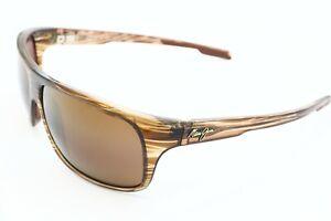 Maui Jim Island Time MJ 237-15 Wrap Brown Wood Polarized Sunglasses Brown Lenses