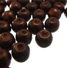 100 ROUND WOODEN BEADS Dark Brown 12mm Natural Wood