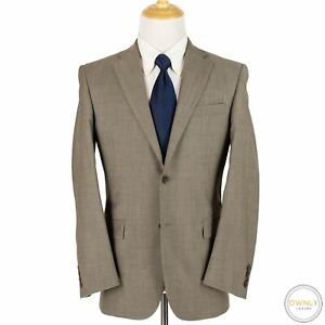 LNWOT Burberry x Hickey Freeman Taupe Wool Glossy Flat Front 2Btn Suit 38R