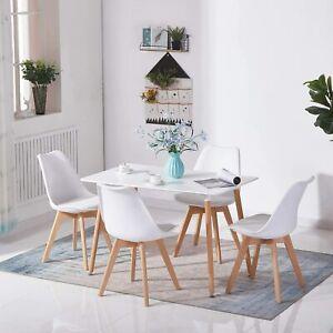 Esstisch Küchentisch Konferenztisch mit Holzbein Modern 110x70cm Rechteckig Weiß