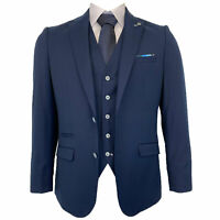 Mens 3 Piece Suit Cavani Blazer Waistcoat Trousers SLIM FIT Navy Stretch KENNEDY