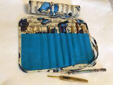 Handmade Butterflies & Music Quilted cotton fabric crochet hook case /holder