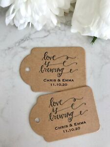 Personalised Wedding Tags Love Is Brewing Engagement Thank You Kraft Brown Twine