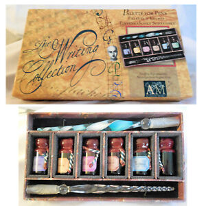 NIB The Writing Collection Palette for Pens Calligraphy Kit with 2 Pens 6 Inks