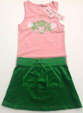 NWT JUICY COUTURE Nuevo Original Verde Velour Falda & Rosa T. Camisa Juego