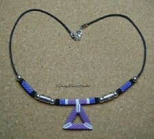 Peyote Beaded Pendant on Waxed Cotton Cord Necklace