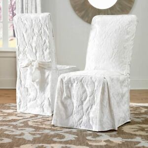 Sure Fit Matelasse Damask Long Dining Chair Slipcover WHITE NEW