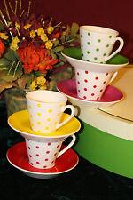 4 Kate Spade Larabee Dot Demitasse Cups & Saucers NIB 6398408
