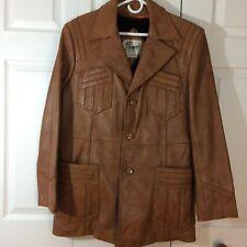 BERMANS vtg leather jacket coat 42 lining saddle western rancher rockabilly