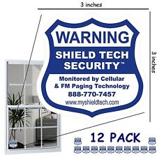 12 BACK ADHESIVE DECALS FOR ALL WINDOWS - REAL OR FAKE ALARM SYSTEM STICKER PK B