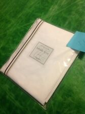 Le Telerie Toscane Firenze Twin Bedskirt NIP 100% Cotton Italy White $109 Brown