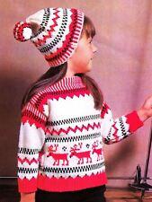 Knitting Pattern Childrens Winter Christmas Jumper & Bobble Hat