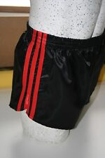 Nylon Glanz Satin FOOTBALL Shorts Small to XXXXL 70s & 80s Retro, Black & Red