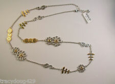 """NWT BRIGHTON Silver FLOWER PATCH Necklace SILVER & GOLD TONE,40"""" LONG"""
