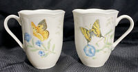 """2 Lenox Butterfly Meadow Monarch and Swallowtail Mugs 4.25"""""""