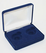 Blue Felt COIN DISPLAY GIFT METAL BOX holds 2-Quarters or Presidential $1 Dollar