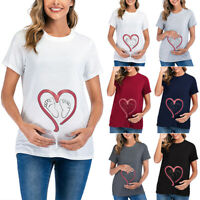 Lady Pregnant Tops Short Sleeve Heart Print T-Shirt Blouse Maternity Clothing