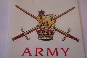 """2 X  ARMY       HM ARMED FORCES  STICKERS  4"""" BRITISH ARMY USA  BADGES MILITARY"""