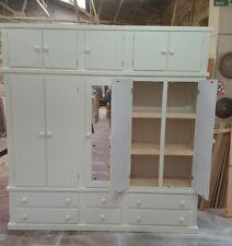 HANDMADE AYLESBURY IVORY 6 DRAWER 5 DOORS (MIRRORED) +TOP BOX+SHELVES WARDROBE